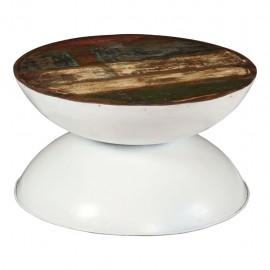 Mesa de centro madera maciza reciclada base blanca 60x60x33 cm