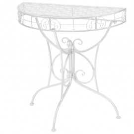 Mesa auxiliar vintage metal semicircular 72x36x74 cm plateada