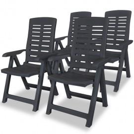 Sillas de jardín reclinables 4 unidades plástico gris antracita