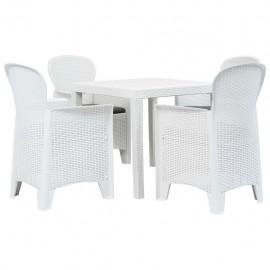 Mesa y sillas de jardín 5 piezas plástico blanco aspecto ratán
