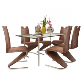 Sillas de comedor Cantilever 6uds forma U cuero artificial marrón