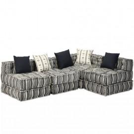 Sofá cama modular de 4 plazas de tela a rayas