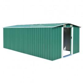 Caseta de jardín de metal verde 257x497x178 cm
