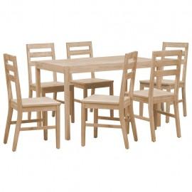 Juego de muebles de comedor 7 piezas madera maciza de acacia