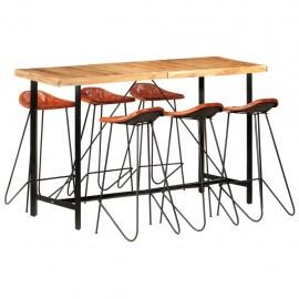 Muebles de bar 7 piezas madera maciza sheesham cuero auténtico