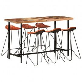 Muebles de bar 7 piezas madera maciza reciclada cuero auténtico
