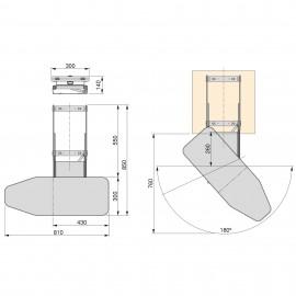 tabla de planchar plegable para mueble, extraíble, montaje sobre balda, acero y madera.