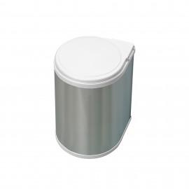 Contenedor de reciclaje, 13 L, fijación puerta, apertura tapa automatica, Plástico, Inox.