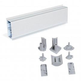 Copete rectangular para cocina, con accesorios para instalación, 4,7 m, plástico, anodizado satinado.