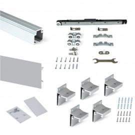 Sistema para puertas correderas colgadas de madera, con cierre suave, 80 kg, aluminio anodizado