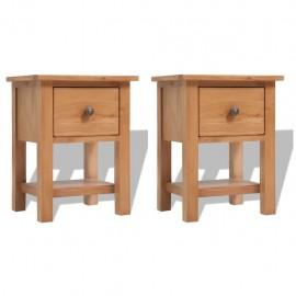 Mesitas de noche 2 unidades madera maciza de roble 36x30x47 cm