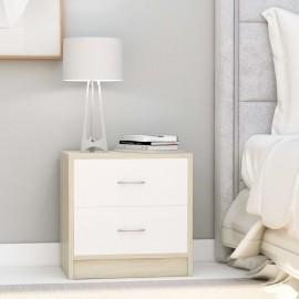 Mesita de noche aglomerado blanco y roble Sonoma 40x30x40 cm