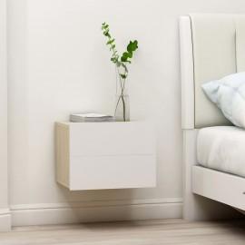Mesita de noche aglomerado blanco y roble Sonoma 40x30x30 cm