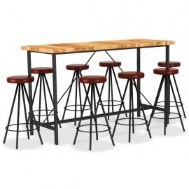 Set muebles de bar 9 pzas madera maciza acacia cuero auténtico