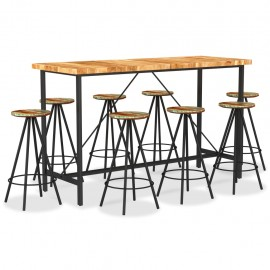 Muebles de bar 9 pzas madera maciza acacia y madera reciclada
