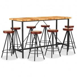 Set muebles de bar 9 pzas madera maciza acacia cuero real lona