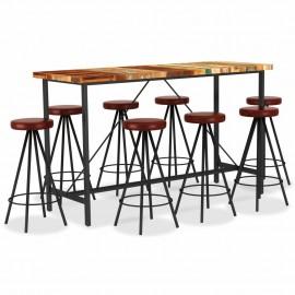 Set muebles de bar 9 piezas madera reciclada y cuero auténtico