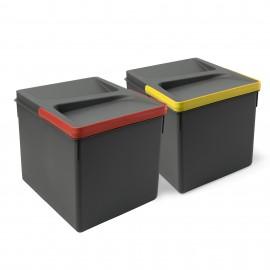 Contenedores para cajón cocina, altura 216 mm, 12L, Gris antracita, 2 ud.