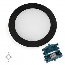 Aplique led para mueble, diámetro 84 mm, de empotrar, no necesita convertidor, luz blanca natural, acero y plástico, negro mate.