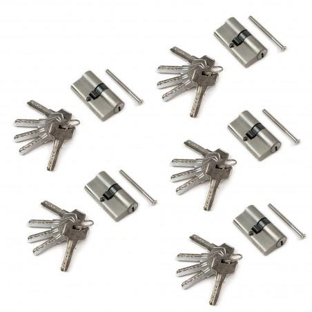 Cilindro cerradura de seguridad tipo pera para puertas, 30 x 30 mm, embrague simple, leva larga, con 5 llaves, aluminio, níquel
