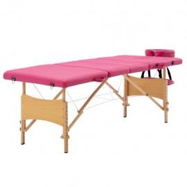 Camilla de masaje plegable 4 zonas madera rosa