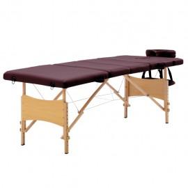 Camilla de masaje plegable 4 zonas madera morado