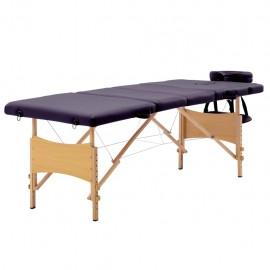 Camilla de masaje plegable 4 zonas madera morado vino