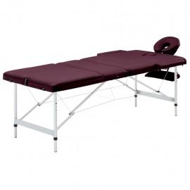 Camilla de masaje plegable 3 zonas aluminio morado