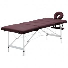Camilla de masaje plegable 4 zonas aluminio morado