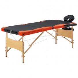 Camilla de masaje plegable 3 zonas madera negro y naranja