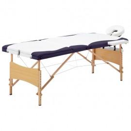 Camilla de masaje plegable 3 zonas madera blanco y morado