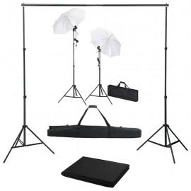 Kit estudio fotográfico con telón de fondo, lámparas y paraguas
