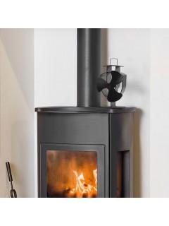 Ventilador de estufa accionado por calor 3 aspas negro