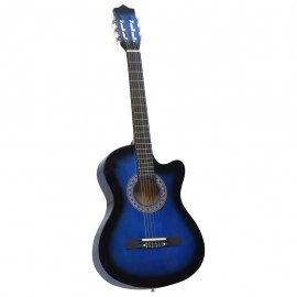 "Guitarra acústica occidental cutaway 6 cuerdas azul sombras 38"""
