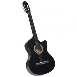 Guitarra acústica con cutaway y ecualizador 6 cuerdas negro