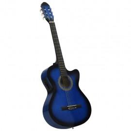 Guitarra acústica occidental cutaway ecualizador 6 cuerdas azul