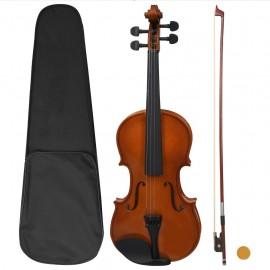 Juego completo de violín con arco y mentonera madera oscura 4/4