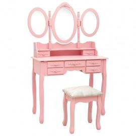 Tocador con taburete y espejo triple plegable rosa