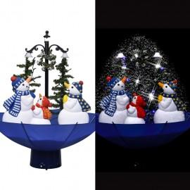 Árbol de Navidad con nieve con base de paraguas PVC azul 75 cm