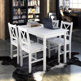Juego de muebles de comedor 5 piezas blanco
