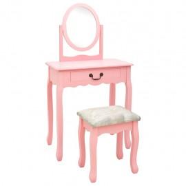 Tocador y taburete madera paulownia y MDF rosa 65x36x128 cm