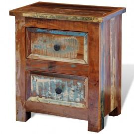 Mesita de noche con 2 cajones de madera maciza reciclada