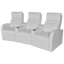 Sillón reclinable con 3 plazas de cuero artificial blanco