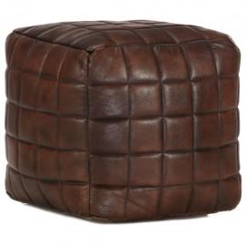 Puf marrón oscuro 40x40x40 cm cuero auténtico de cabra