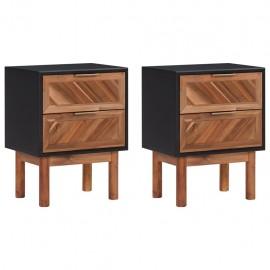 Mesitas de noche 2 uds madera maciza acacia MDF 40x30x53 cm