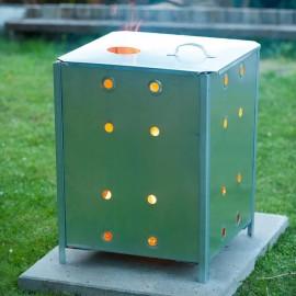 Nature Incinerador de jardín cuadrado de acero galvanizado 46x46x65 cm