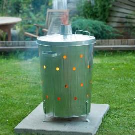 Nature Incinerador de jardín redondo de acero galvanizado 46x72 cm