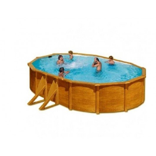Comprar piscina de acero aspecto madera ovalada 500x300x for Ofertas piscinas desmontables acero