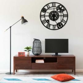 Reloj de pared de metal negro 80 cm