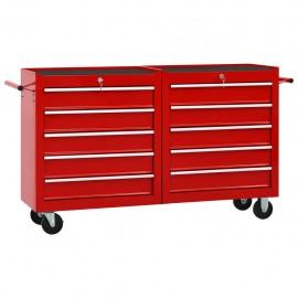 Carro para herramientas con 10 cajones acero rojo